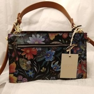 Valentina Italian Leather Floral Crossbody Bag.